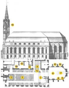 Grundriss von St. Gumbertus. Die Zahlen dienen zur Orientierung der Sehenswürdigkeiten, die Sie per Klick links in der Liste ansehen können.